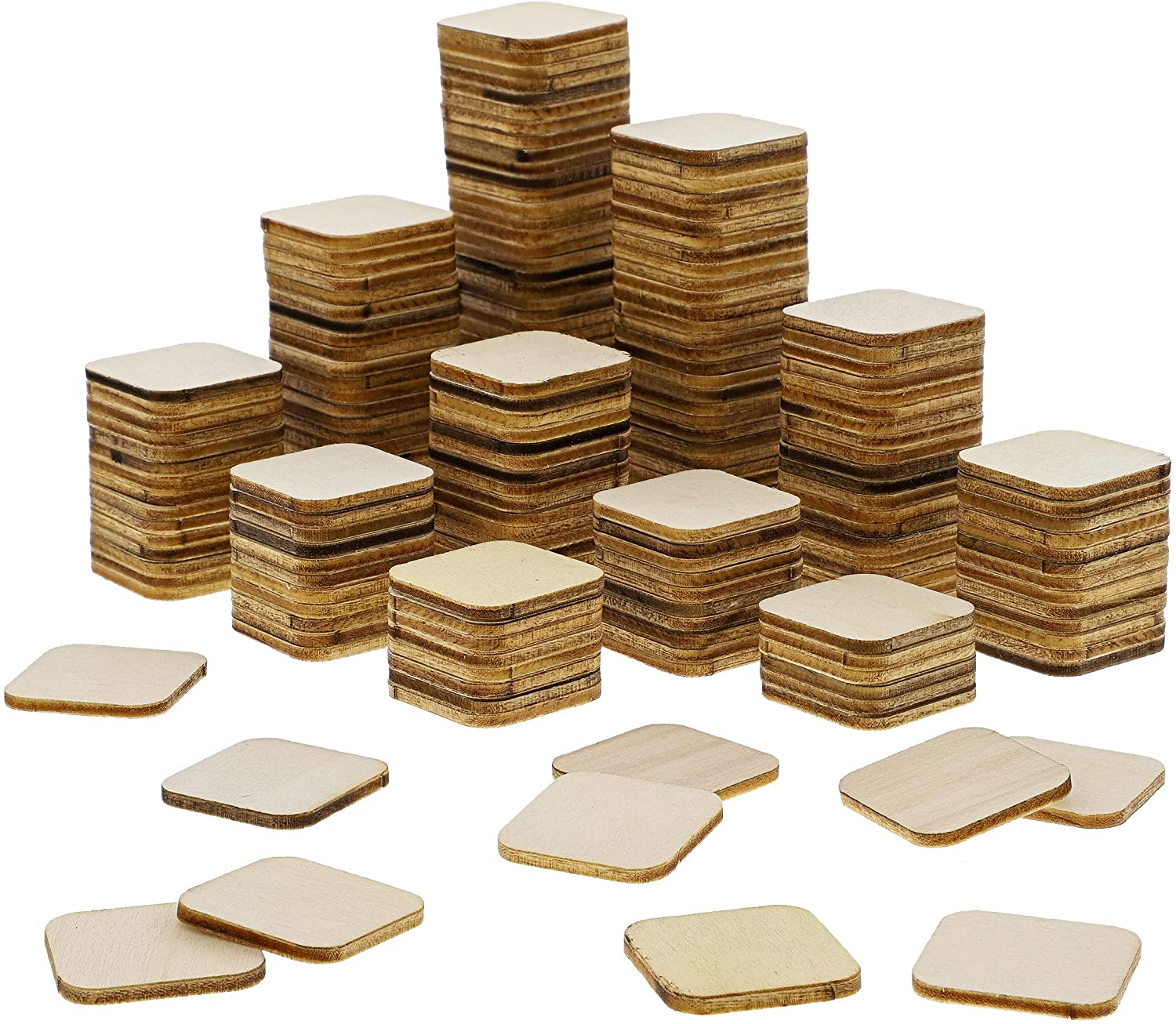 Bright Creations 200-Pack Unfinished Wood Square Tile Cutouts for DIY Crafts, 1 x 1 Inches