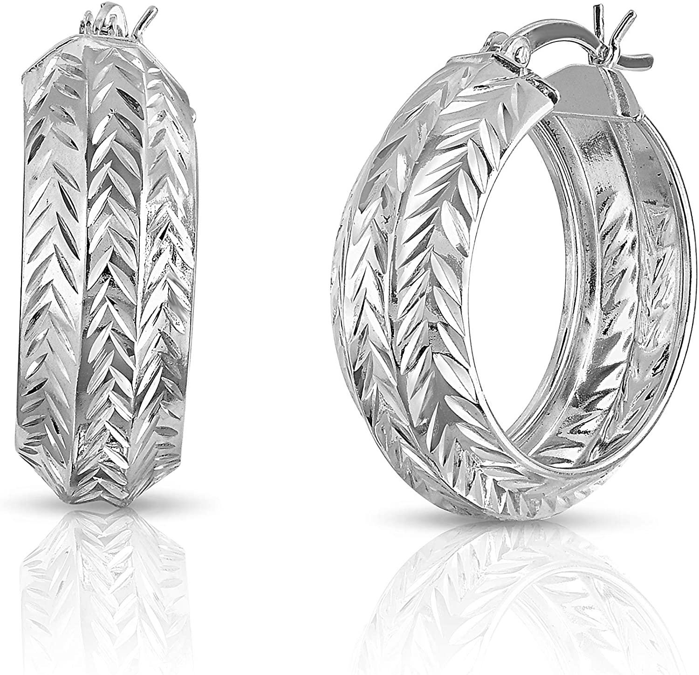 Verona Jewelers Sterling Silver 9MM Diamond Cut Hoop Earrings, Bangle Hoop Earrings for Women-25mm Hoop Earrings, Wide Hoop Earrings for Women