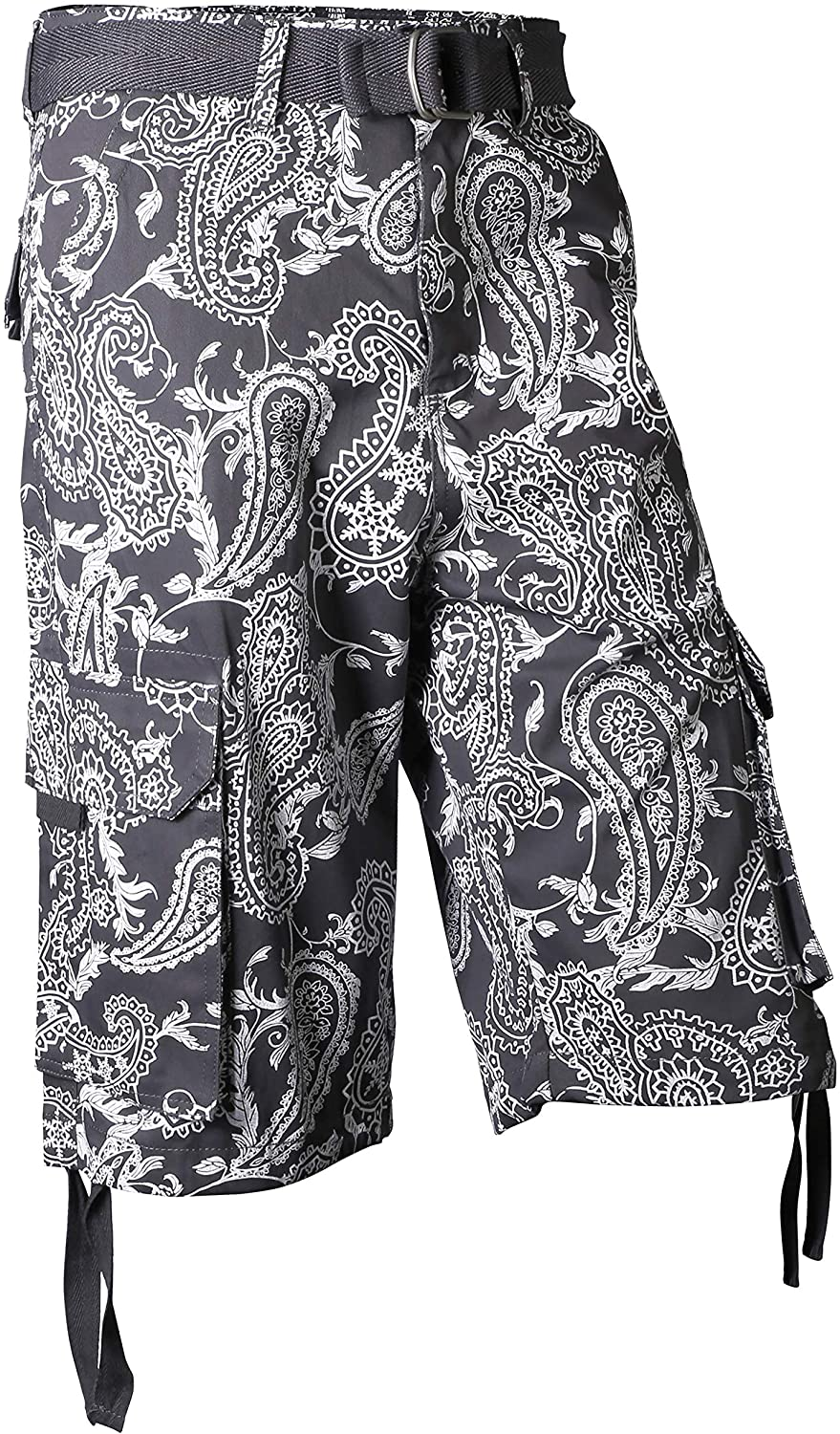 Mens Paisley Cargo Shorts Heavy Weight Big and Tall with Belt (34, 1mj01_Cool Gray)