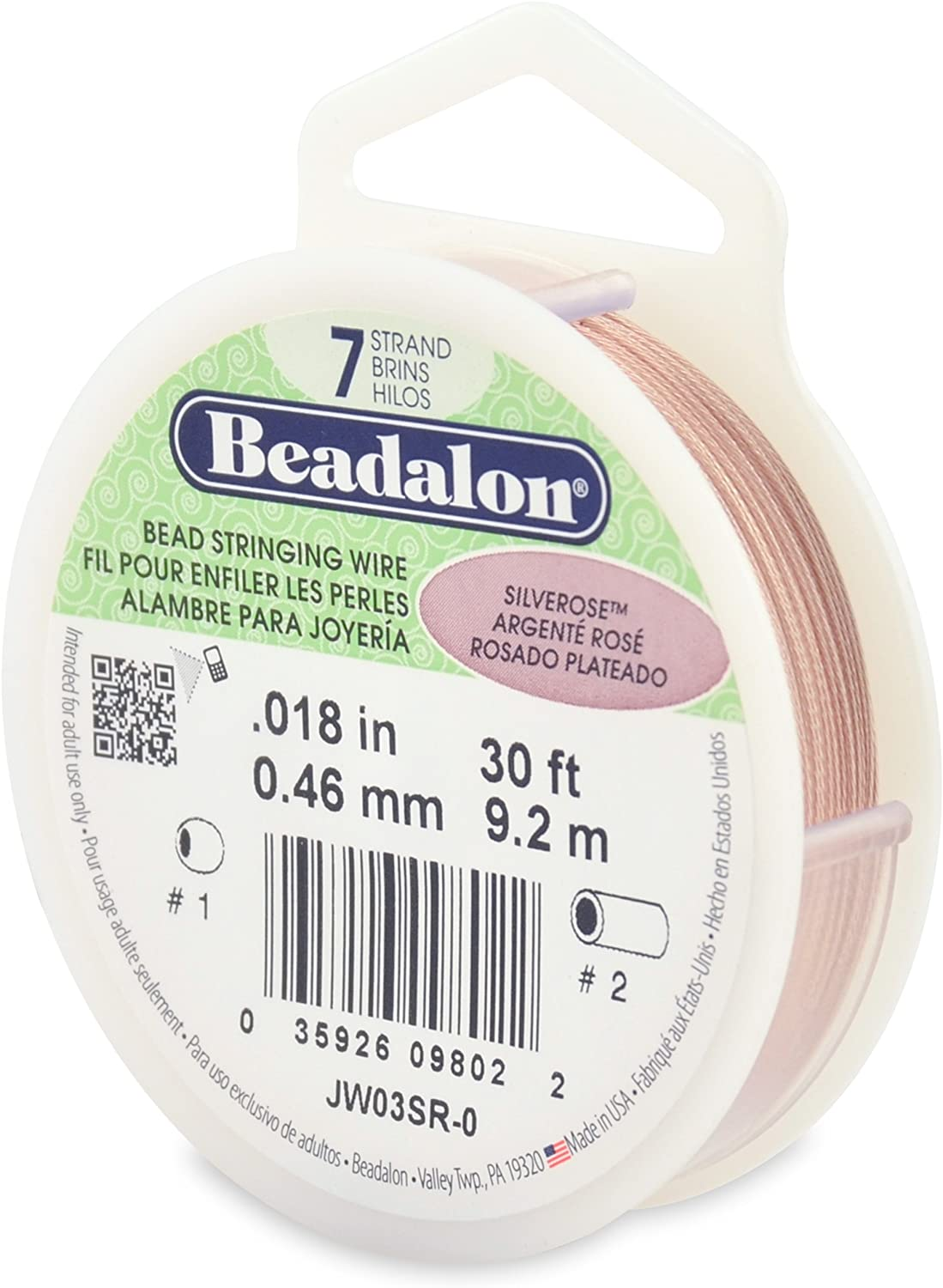 Beadalon 7-Strand Stainless Steel 0.018-Inch Bead Stringing Wire, 30-Feet, Silver Rose Color