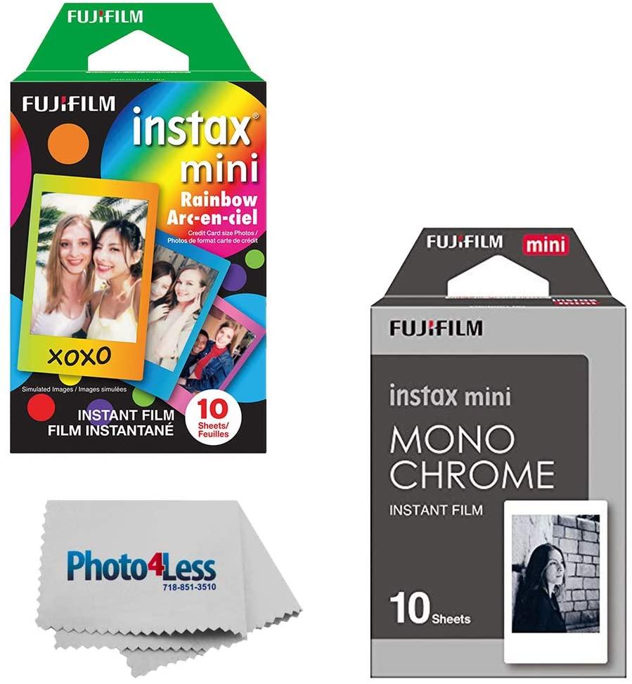 Fujifilm Instax Mini Instant Film - Monochrome (10 Exposures) + Fujifilm Instax Mini Instant Film - Rainbow (10 Exposures)