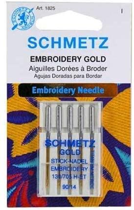 50 Schmetz Gold Titanium Embroidery Needles Size 90/14 130/705 H-ET