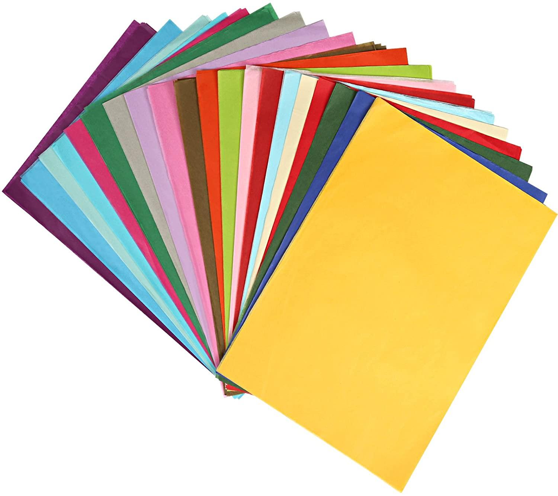 Naler 200 Sheets Assorted Colors Art Tissue Paper for DIY Crafts Decorative Tissue Paper Flower Pom Pom, 20 Colors, 8