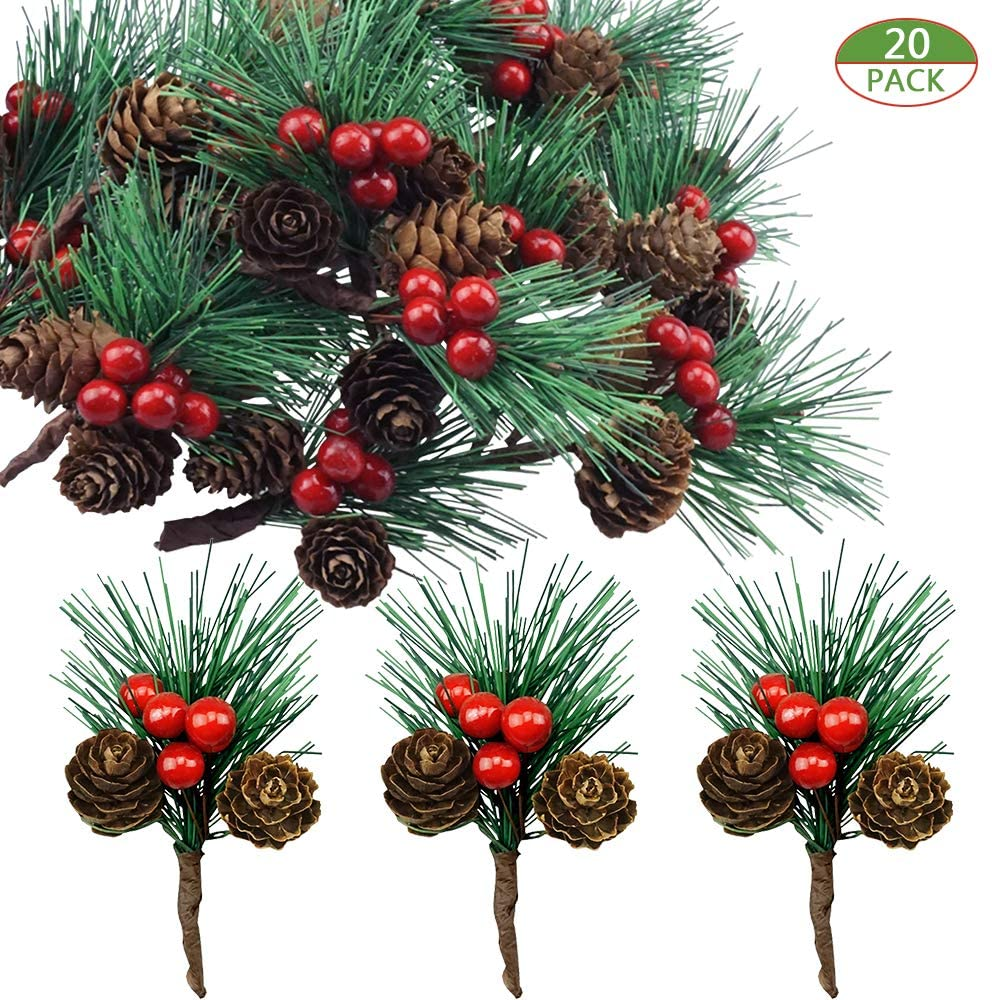 Shxstore-1 Red Berry Pinecones Pine Needles Stems Picks Artificial Winter Christmas Berries Decor for Crafts Christmas Garland and Holiday Wreath Ornaments, 20 Branch
