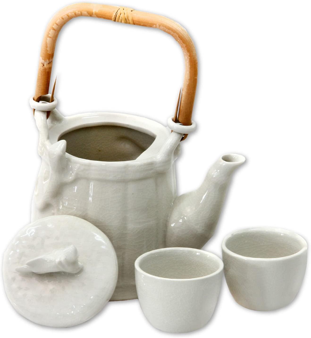 NOVICA Animal Themed Ceramic Tea Set, White, 2 Oz, Cricket And Gecko' (Set For 2)