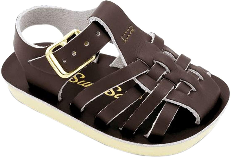 Salt Water Sandals by Hoy Shoe Girls' Sun-San Sailor Flat Sandal, Brown,