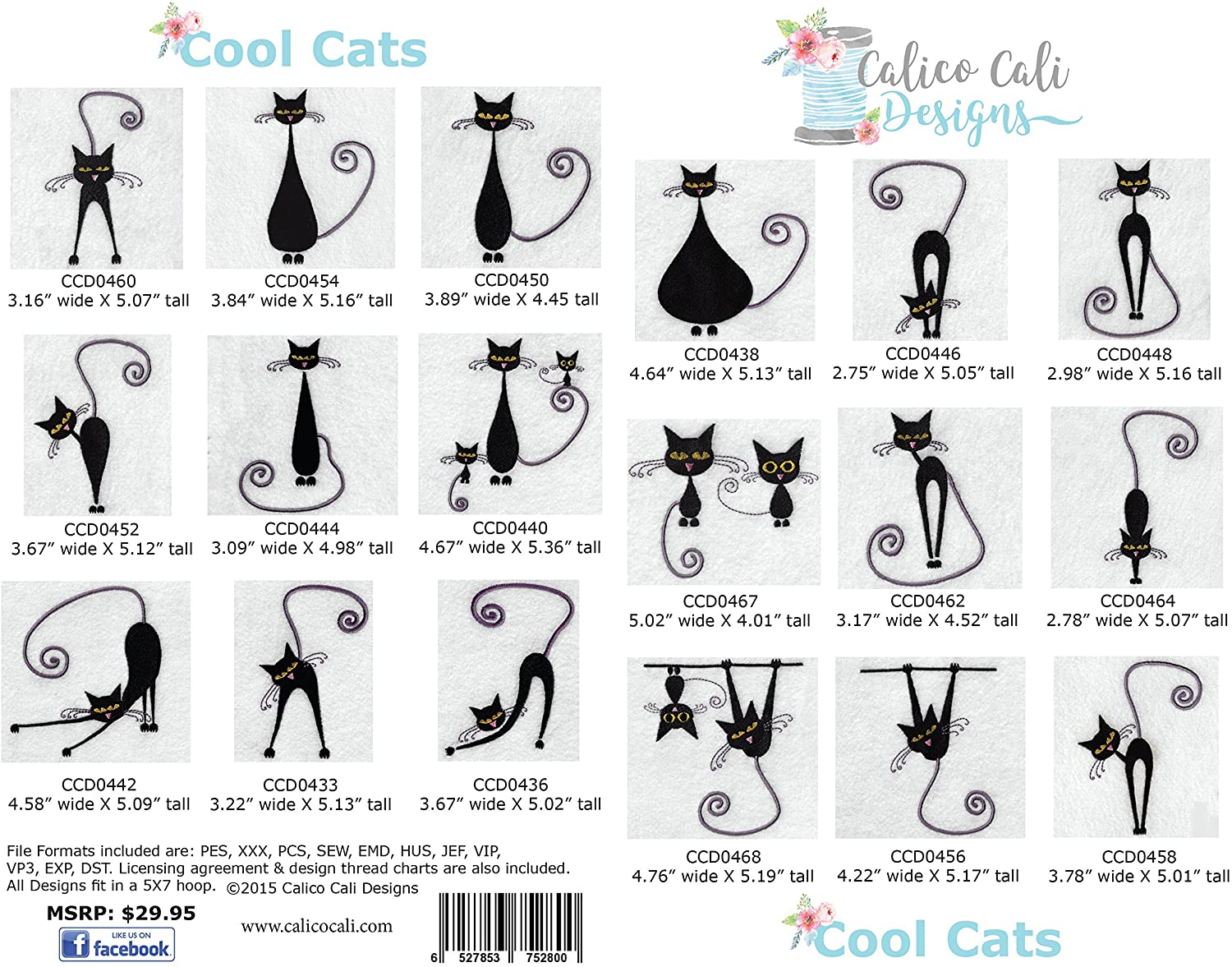 Cool Cats Machine Embroidery Designs