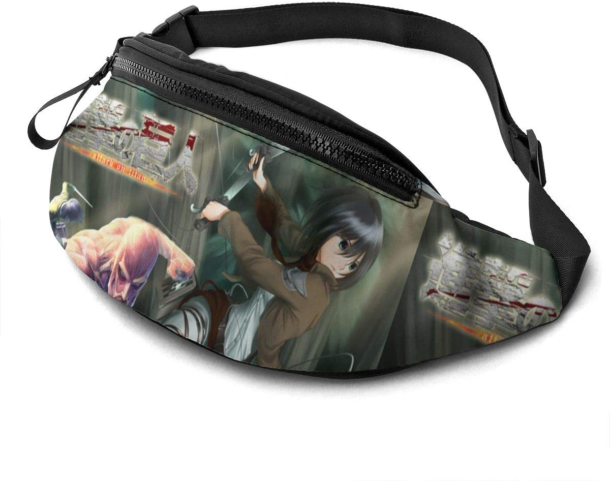 Qwertyi Attack On Titan Unisex Running Waist Packs Casual Waist Bag, Can Hold Small Objects Such As Mobile Phones