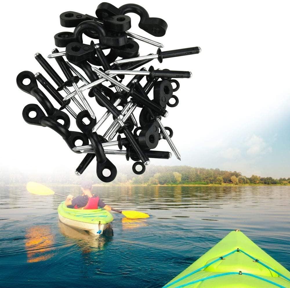 DECARETA Kayak Pad Eyes Kit,Tri-Grip Rivet,10pcs Pad Eyes for Kayak,20pcs Shock Cord Hooks Rivet with 20Pcs Rubber O-Rings Washers Kayak Nylon Bungee Deck Loop Kit for Canoes Boat Kayaks