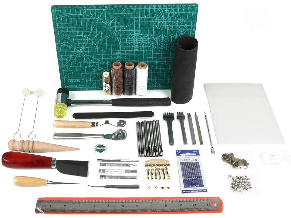 Amon Tech 44 PCs Leathercraft Basic Tools Kit Leather Punch Hand Sewing Tool Set Groover Stitching Kits Needle Knife Line Rivet Aw