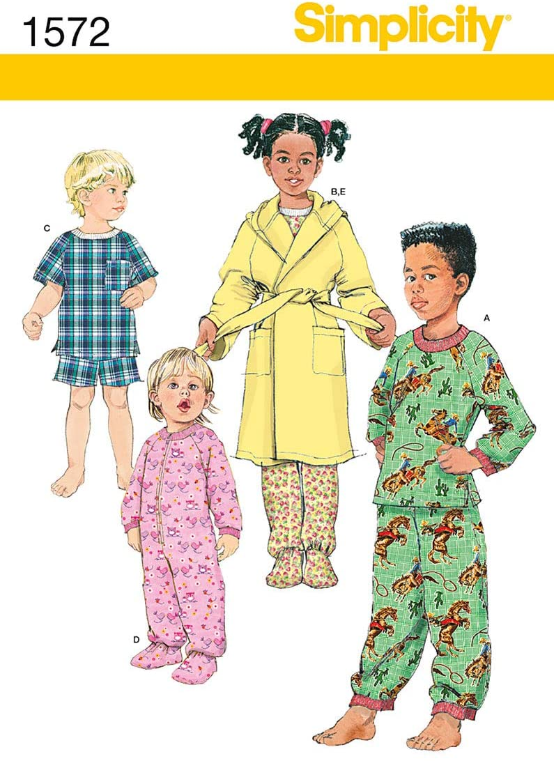 Simplicity 1572 Toddler and Child's Robe and Pajamas Sewing Patterns, Sizes 1/2-2