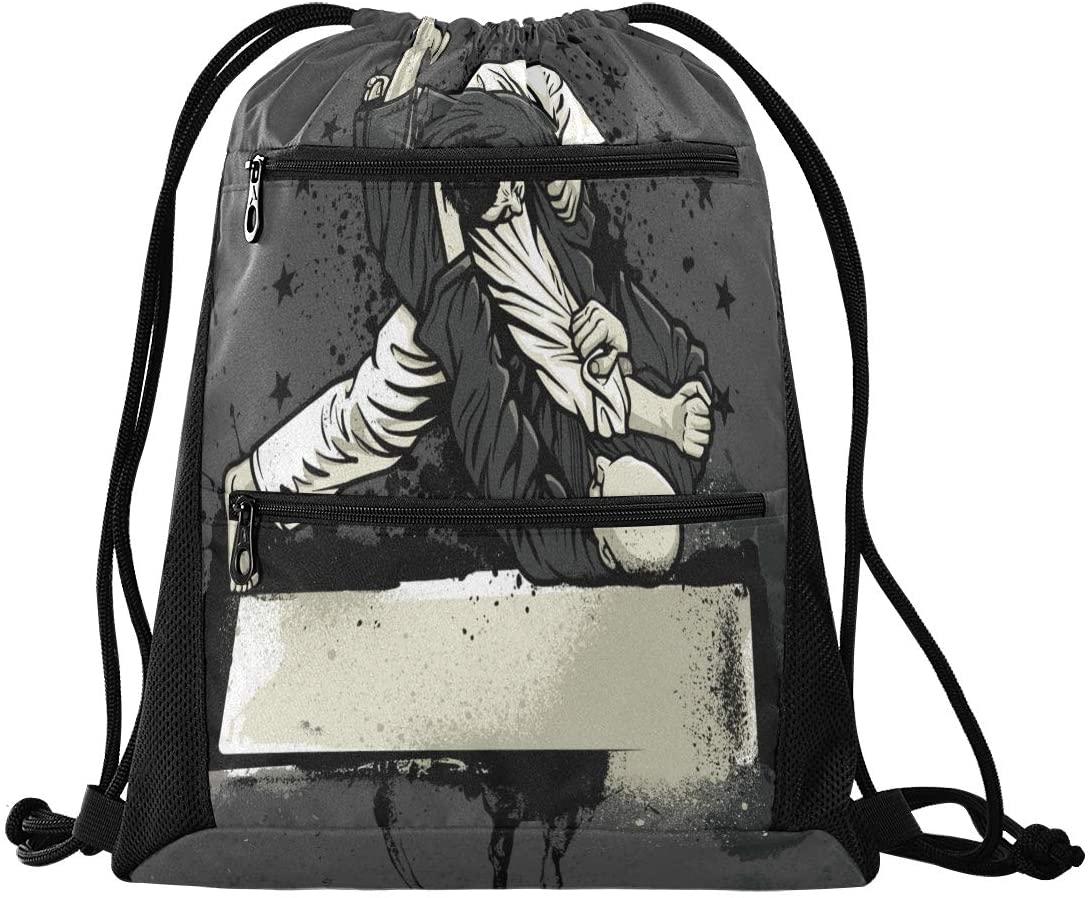 N /A Drawstring Backpack for Women Men Brazilian Jiu-Jitsu Warrior Gym Bag Drawstring Backpacks Boys