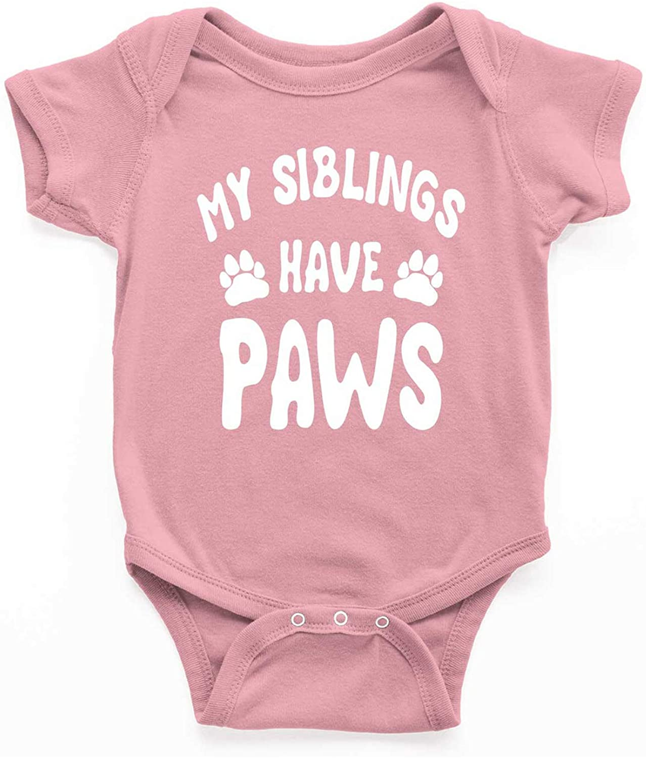 My Siblins Have Paws Novelty Cute Infant Baby Unisex One-Piece Bodysuit