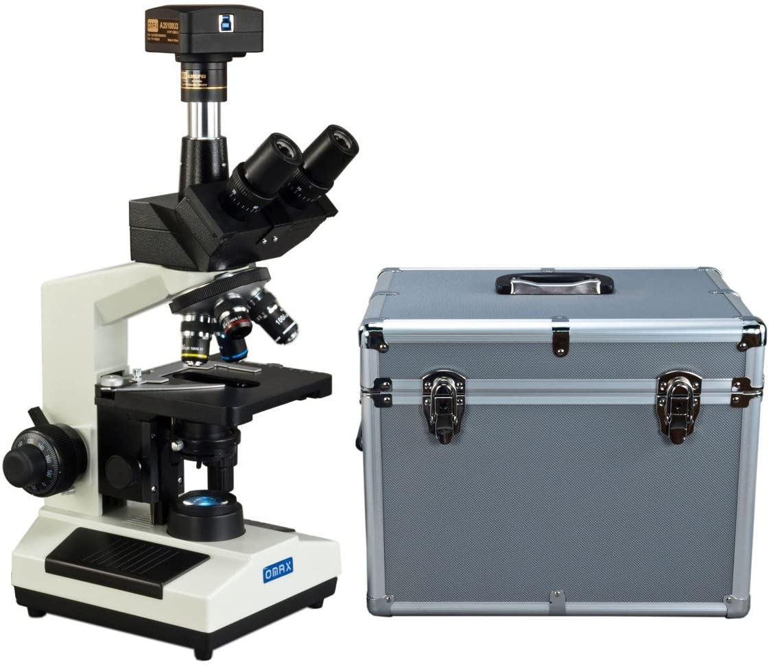 OMAX 40X-2500X USB3 14MP Digital Trinocular Compound LED Lab Microscope with Aluminum Carrying Case