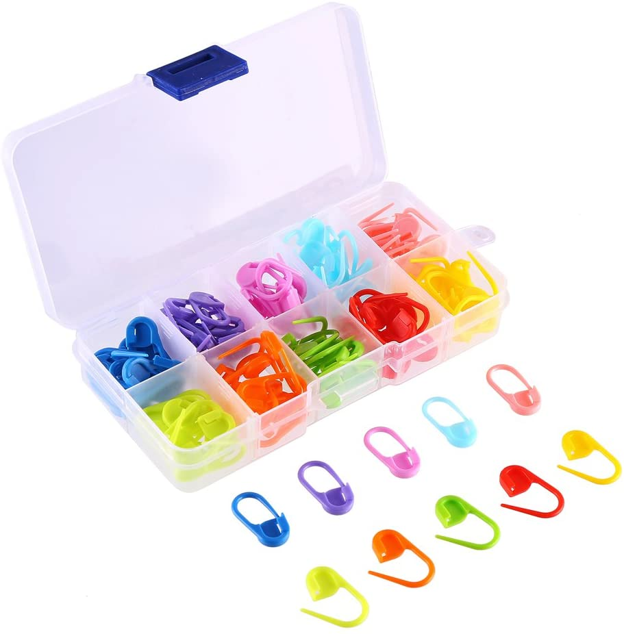 CCINEE 120 Pieces Locking Stitch Markers Assorted Color Knitting Stitch Counter Crochet Stitch Needle Clip