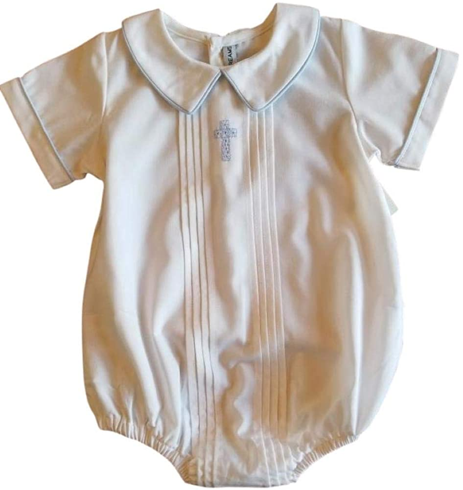 Boys Christening with Blue Cross Pleated Front Baby Bubble Set