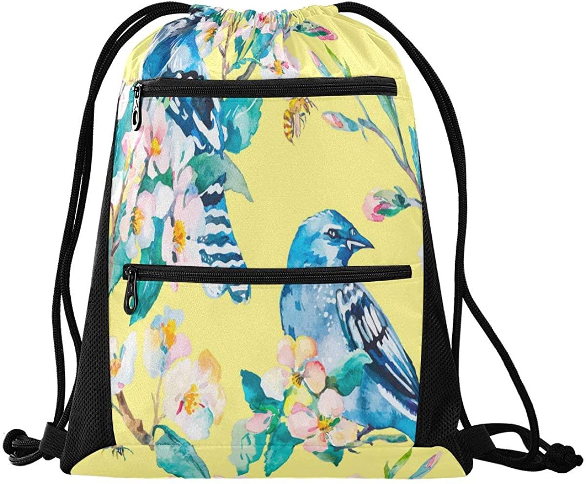 N\ A Drawstring Bag Backpack Lightweight Dance Bag for Girls Boys Kids Blue Bird Jay On Flowering Branch