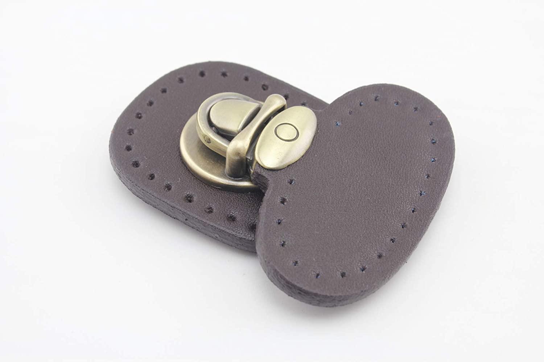 5.1cm x 6.2cm Zinc Alloy Tongue Lock Purse Lock with Leather sew on for Handbag Purse Bag Making 1 Set per lot Deep Brown T94B