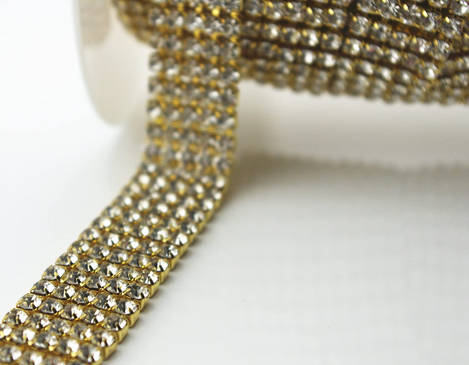 3 FEET 1 Yard 5 Rows SS16 2/3 inches Clear Crystal Close Gold Plated Rhinestone Chain Trims Cup Chain Wedding Cake Decoration