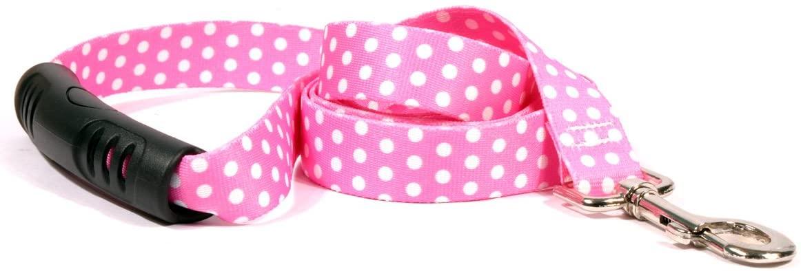 Yellow Dog Design New Pink Polka Dot EZ-Grip Dog Leash