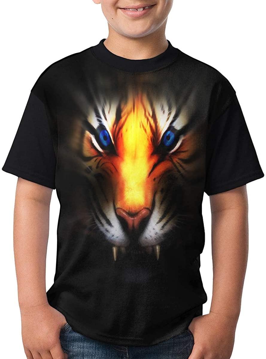 Kids Ferocious Golden Tiger O-Neck T-Shirts for Boys Girls Black Large