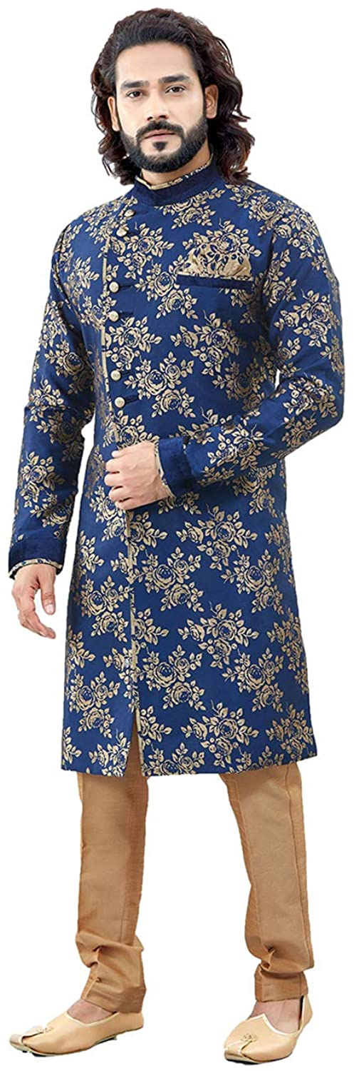Indian Designer Partywear Traditional Ethnic Navy Blue Mens Indo Western.