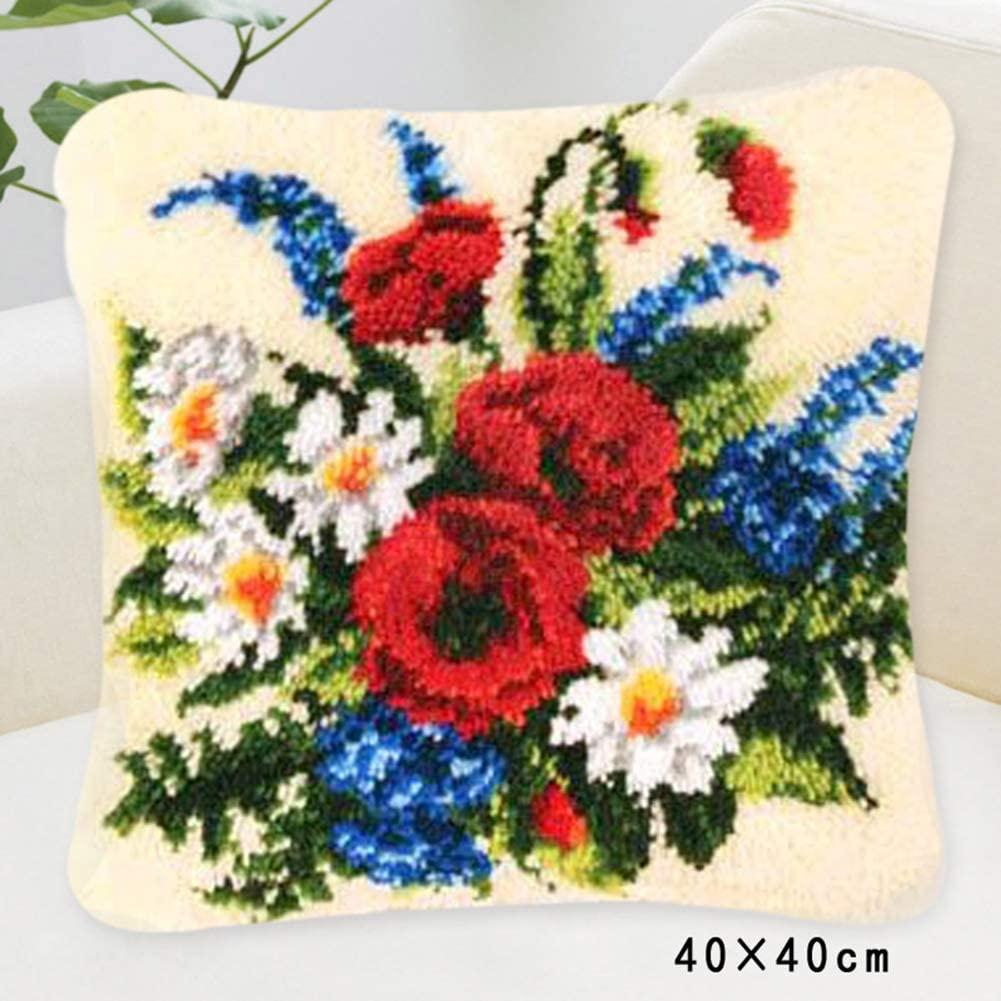 TQQT DIY Cushion Carpet Mat Latch Hook Rug Kits Cover Hand Craft Embroidery Pillowcase Crocheting Handmade Window Seat Sofa Baby Wedding Kids Parents Gift