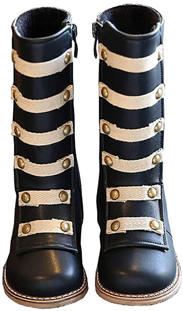 BININBOX Girls Knee High Leather Winter Boots Rivet Warm Cotton Toddler Boots