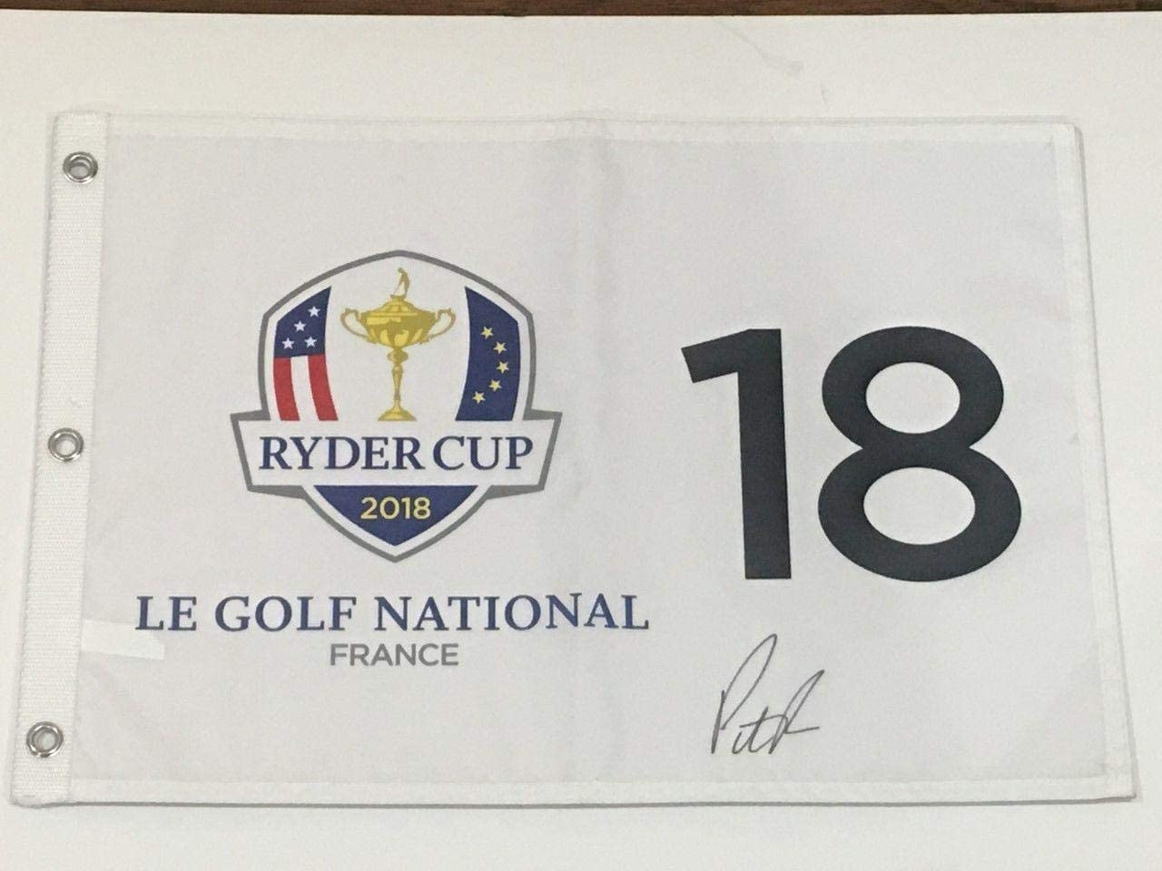 Patrick Reed Signed 2018 Ryder Cup Flag Le Golf National France Team Usa Proof - Autographed Golf Pin Flags