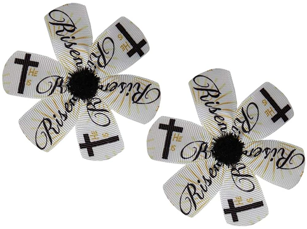WD2U Baby Girl Set of 2 He is Risen Christian Easter Hair Bow Alligator Clips