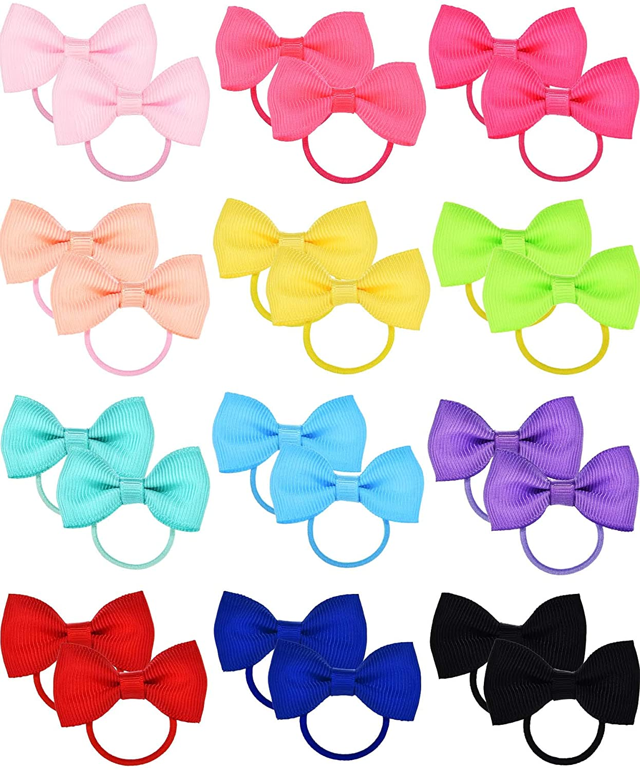 Bememo 50 Pieces Baby Girls Bow Elastic Ties Ponytail Holders Tiny Soft Rubber Bands for Baby Kids (3.14 inch)