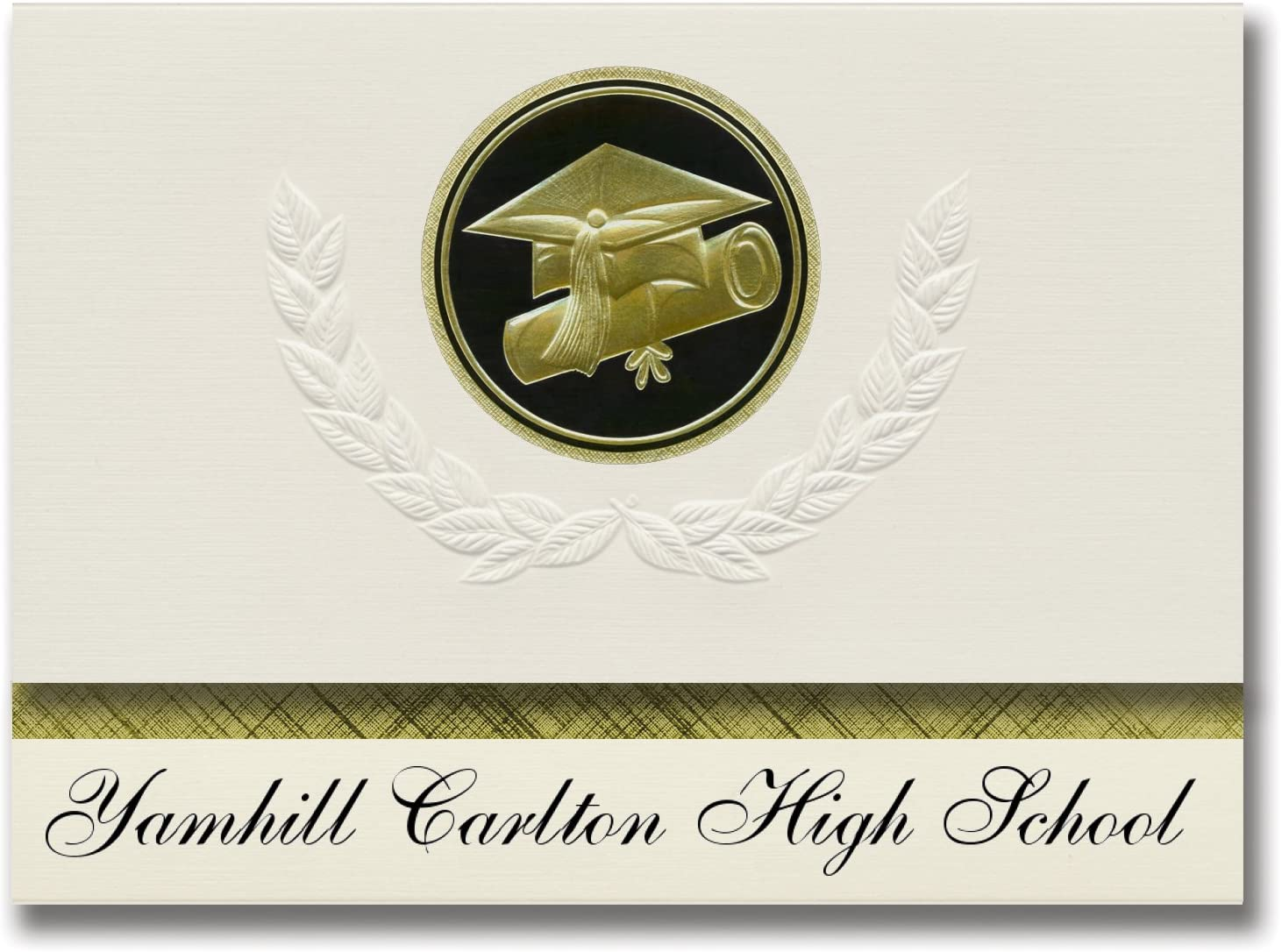 Signature Announcements Yamhill Carlton High School (Yamhill, OR) Graduation Announcements, Presidential style, Elite package of 25 Cap & Diploma Seal Black & Gold