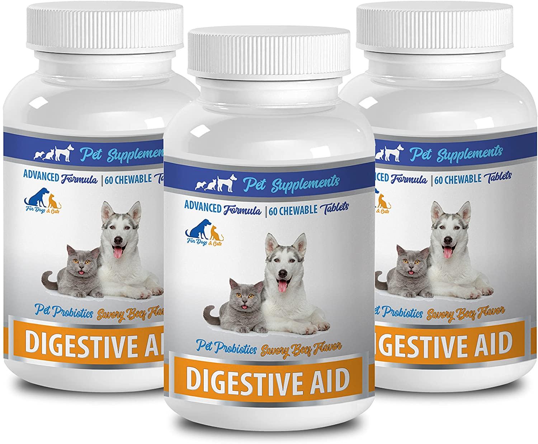 PET SUPPLEMENTS cat tummy stress - Pet Digestive Aid - Probiotics - For Dogs And Cats - Chewable - cat digestive treats - 3 Bottle (180 Chews)