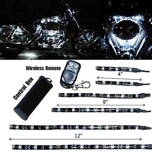 OCTANE LIGHTING 6Pc White Led Motorcycle Chopper Frame Glow Lights Flexible Neon Strips 12V Kit