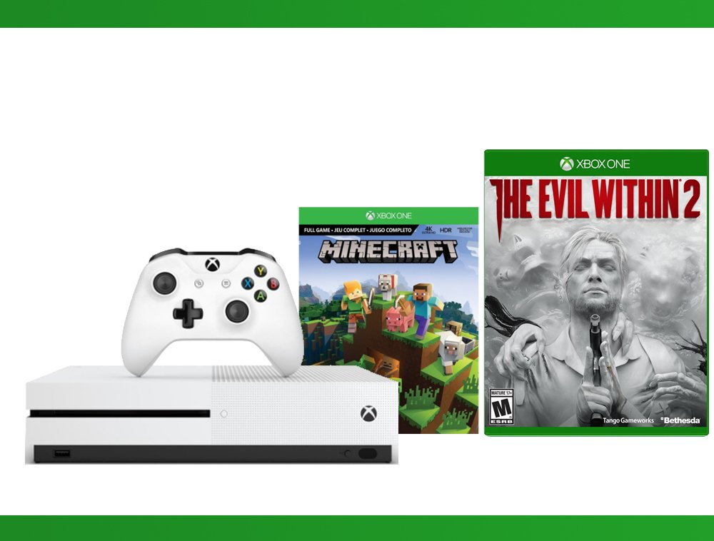 Xbox One S 500GB Console - Minecraft Complete Adventure + The Evil Within 2 + WWE 2K16 Bundle ( 3 - Items )