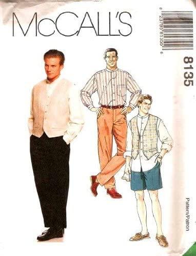 McCall's Pattern 8135 ~ Men's Shirt, Vest, Pants & Shorts ~ Size MY (Chest 42, 44, 46)
