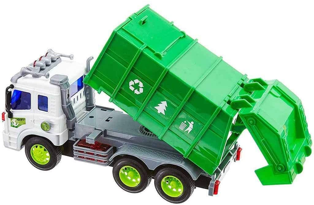 Garbage Truck Transport Truck Toy for 3-10 Years Olds Age, Rubbish Trucks Friction Powered Children Toys Car Model Back Dumping Garbage (Green)