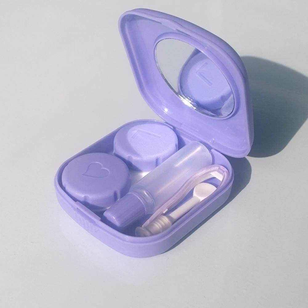 LOMAX Green Contact Lens Case, Mini Simple Eye Lens Case, Travel Kit Contact Lens Travel Case for Mirror Container Solid Color Storage Box Contact Lens Case Protects Your Eyes (Color : Purple)