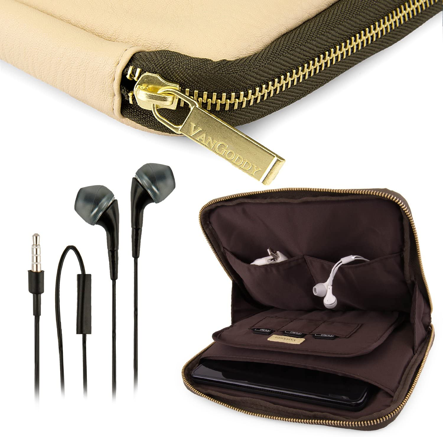 VanGoddy Irista Cover TAN Brown Olive Green City PRO PU Faux Leather Pouch Sleeve for Toshiba Excite Go 7' Tablet + Black Hands-Free Earphones w/Microphone