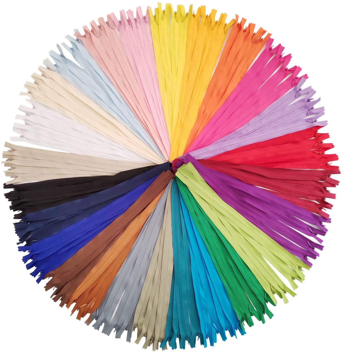 Sewing Zippers, Segarty 100PCS Invisible Zipper 16 inch Nylon Coil Bulk 25 Colors Mixed, Tailor Sewer Tools Garment Accessories and Supplies for Sewing Crafts