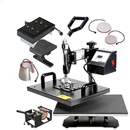 QWERTOUY 38x38cm Low Cost 5IN1 Swing Heat Press Machine T-Shirt/Mug/Hat/Plate Heat Transfer Printing Machine
