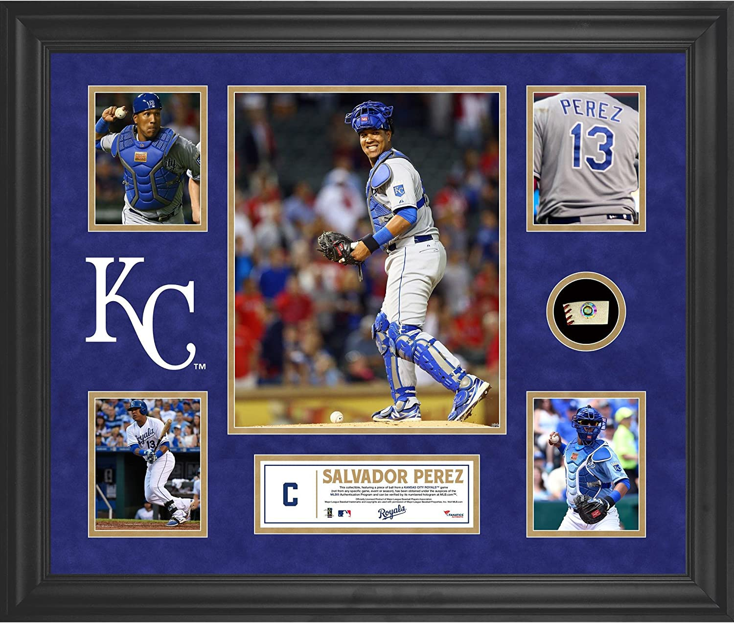 Salvador Perez Kansas City Royals Framed 5-Photo Collage with a Piece of Game-Used Baseball - MLB Player Plaques and Collages