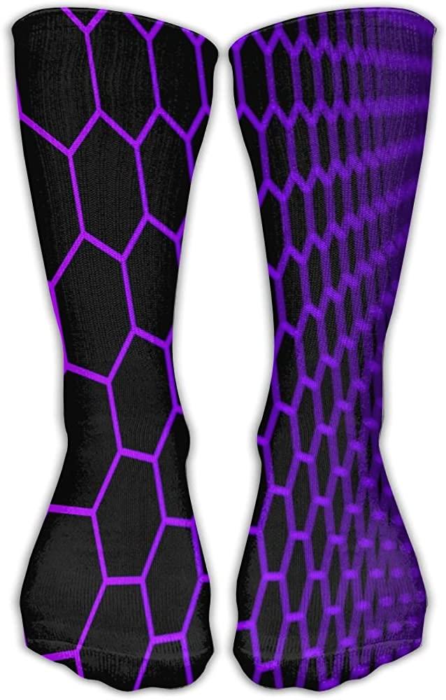 Purple Hexagon Athletic Socks Novelty Running Long Sock Cotton Socks