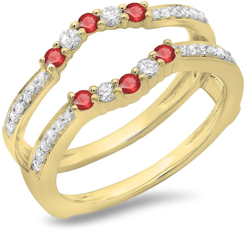 14K Gold Round Ruby & White Diamond Anniversary Wedding Band 5 Stone Enhancer Guard Double Ring