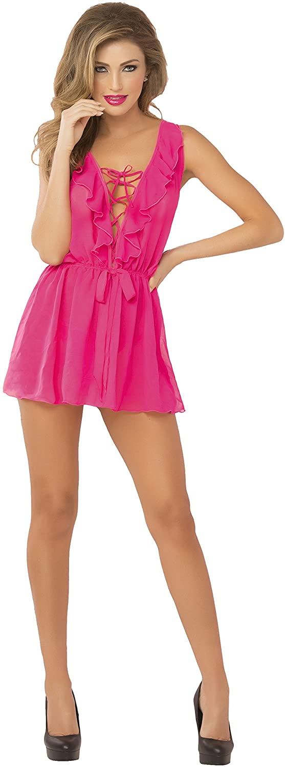 Seven til Midnight Womens Chiffon Ruffle Front Babydoll with Elastic Waist and Thong