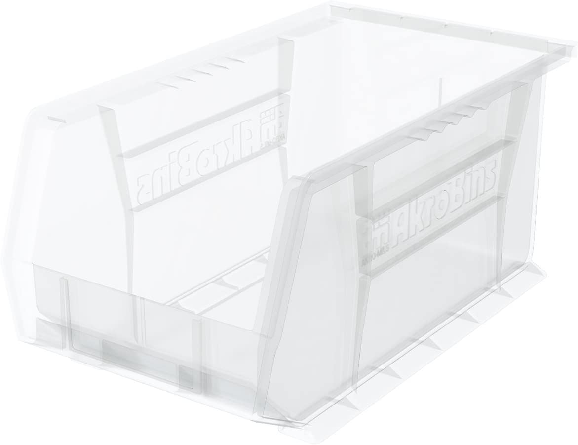 Akro-Mils 30240 AkroBins Plastic Storage Bin Hanging Stacking Containers, (15-Inch x 8-Inch x 7-Inch), Clear, (12-Pack)