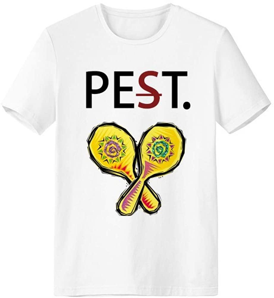 Yellow Racket Mexicon Culture Element Illustration Pet But Not Pest White T-Shirt Short Sleeve Crew Neck Sport