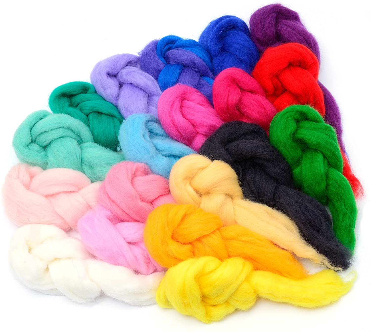 Glaciart One Spinning Fiber Merino Wool - Super Soft 20 Colors (10gram per Color) Unspun Roving Wool for Felting and Felting Yarn Craft Supplies