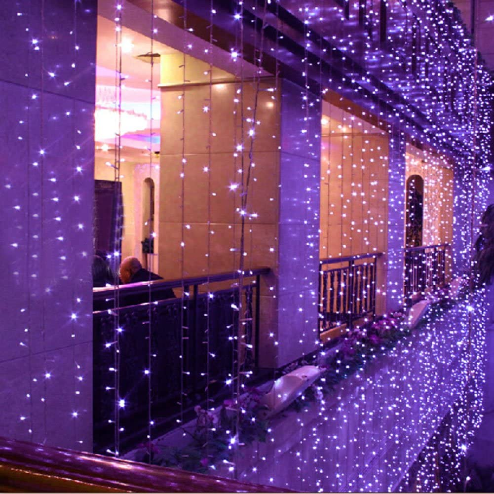 Surprise Zone 8 Modes 400 LEDs 4M(W) X 3M(H) Curtain Lights String Fairy Light Window Curtain Icicle Lights for Christmas Wedding Party Bar Hotel Decorations Purple