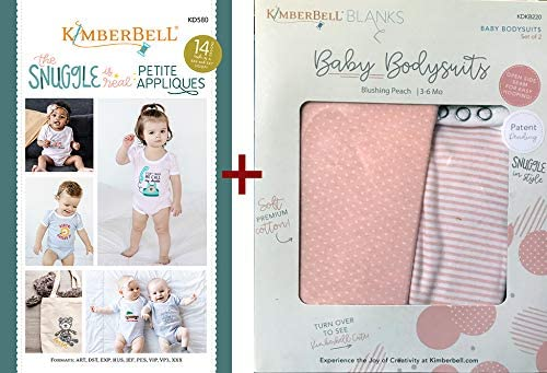 Kimberbell Embroidery Machine CD: The Snuggle is Real Petite Applique (KD580) + Baby Bodysuits – Blushing Peach 3-6 Months (KDKB220)